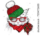 a beautiful cat in a winter hat ... | Shutterstock .eps vector #735472600