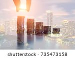 financial investment with... | Shutterstock . vector #735473158