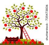 vector apple tree  wooden crate ... | Shutterstock .eps vector #735473836