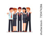 standing group of business men  ... | Shutterstock .eps vector #735474286