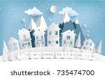 views of housing in winter.... | Shutterstock .eps vector #735474700