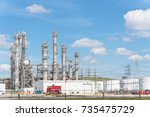 oil refinery  oil factory ... | Shutterstock . vector #735475729