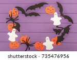 halloween silhouettes cut out... | Shutterstock . vector #735476956