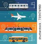 set of horizontal banner... | Shutterstock .eps vector #735476980