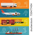 cargo tracking service concept... | Shutterstock .eps vector #735477454