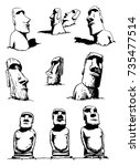 graphical set of moai isolated... | Shutterstock .eps vector #735477514