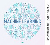 machine learning and artificial ... | Shutterstock .eps vector #735478750