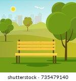landscape in city park. park... | Shutterstock .eps vector #735479140
