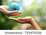 global model send to child hand ... | Shutterstock . vector #735479236
