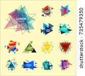 sacred geometry triangle... | Shutterstock .eps vector #735479350