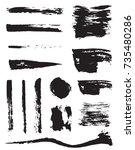 set of raster black pen ink... | Shutterstock . vector #735480286