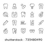 set of minimal dentist dental... | Shutterstock . vector #735480490