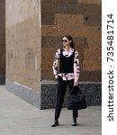 fashion photo  street style... | Shutterstock . vector #735481714