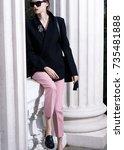 fashion photo  street style... | Shutterstock . vector #735481888