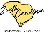 hand drawn south carolina state ... | Shutterstock .eps vector #735482920