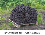 a stack of turf fossil fuel ...   Shutterstock . vector #735483538