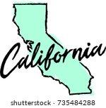 hand drawn california state... | Shutterstock .eps vector #735484288