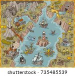 fantasy pirate bay map builder... | Shutterstock .eps vector #735485539