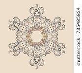 winter snow flakes doodles.... | Shutterstock . vector #735485824