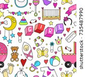 baby girl related sticker icons ...   Shutterstock .eps vector #735487990