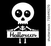 cute kawaii skeleton holding... | Shutterstock .eps vector #735490270
