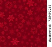 Seamless pattern with scattering of snowflakes on red background. Christmas decoration for cards, banners, booklets, brochures, leaflets. Vector illustration