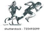 sprint racing  running. from... | Shutterstock .eps vector #735493099