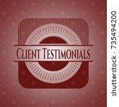 client testimonials red emblem. ...