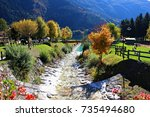 italy  dolomiti  stream that... | Shutterstock . vector #735494680