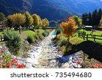 italy  dolomiti  stream that... | Shutterstock . vector #735494680