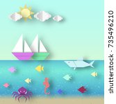 paper landscape with ships and... | Shutterstock .eps vector #735496210