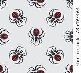 flat color vector seamless... | Shutterstock .eps vector #735497464