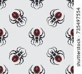 flat color vector seamless... | Shutterstock .eps vector #735497554
