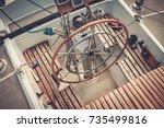 steering wheel on a yacht | Shutterstock . vector #735499816