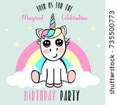 unicorn birthday party... | Shutterstock . vector #735500773