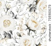 seamless pattern with flowers... | Shutterstock . vector #735503173