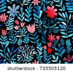 watercolor floral seamless... | Shutterstock . vector #735505120
