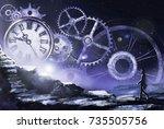 fantastic illustration with...   Shutterstock . vector #735505756