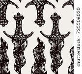 detailed hand drawn tile... | Shutterstock .eps vector #735506020