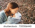 portrait of mother and baby.... | Shutterstock . vector #735506440