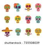 a set of twelve colored sugar... | Shutterstock .eps vector #735508039