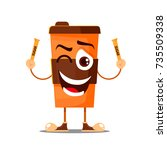 cartoon coffee cup  take away... | Shutterstock .eps vector #735509338
