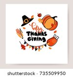 thanksgiving invitation card in ... | Shutterstock .eps vector #735509950