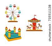 vector flat amusement park... | Shutterstock .eps vector #735511138