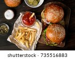 delicious hamburger and french... | Shutterstock . vector #735516883