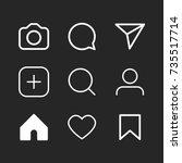 simple social media icon set ... | Shutterstock .eps vector #735517714