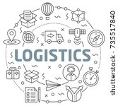 logistics linear illustration... | Shutterstock .eps vector #735517840