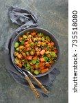 butternut squash and brussels... | Shutterstock . vector #735518080