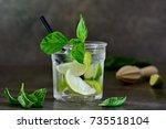 basil limeade or alcohol... | Shutterstock . vector #735518104