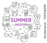 summer vacation linear... | Shutterstock .eps vector #735518209